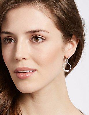 Sterling Silver Textured Multi Link Hoop Earrings, , catlanding