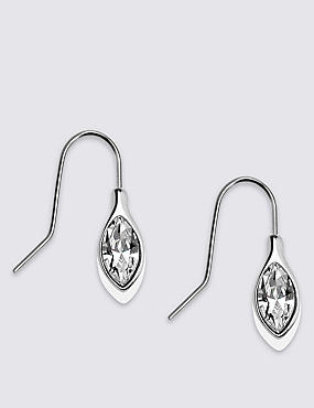 Navette Drop Earrings MADE WITH SWAROVSKI® ELEMENTS, WHITE MIX, catlanding