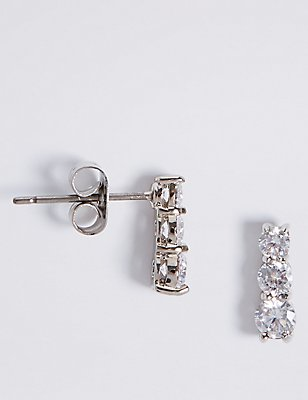 Platinum Plated Triple Diamanté Drop Earrings, , catlanding