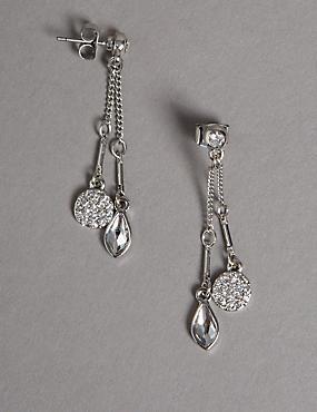 Pendants d'oreilles à double pendentif MADE WITH SWAROVSKI® ELEMENTS, , catlanding