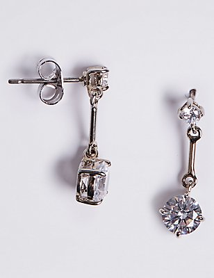 Platinum Plated Stick Diamanté Drop Earrings, , catlanding