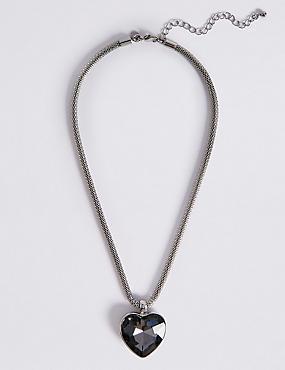 Glass Heart Pendant Necklace, GREY MIX, catlanding