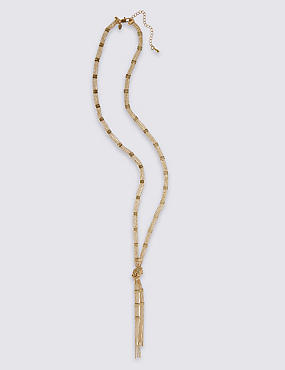 Gold Plated Ball Chain Tassel Necklace, , catlanding