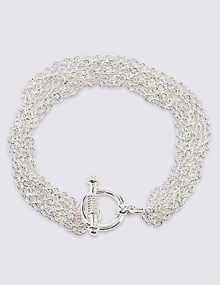 Silver Plated Multi Chain Bracelet, , catlanding