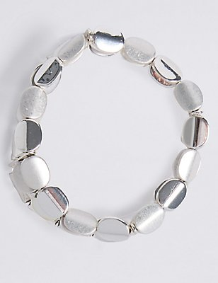 Silver Plated Twist Nugget Stretch Bracelet, , catlanding