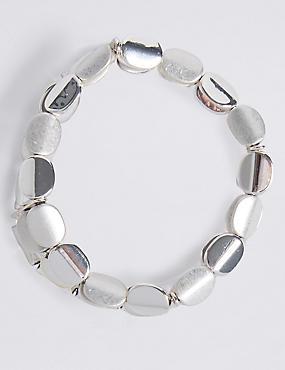 Bracelet extensible plaqué argent à perles plates tordues, , catlanding