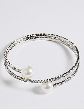 Pearl Effect Coil Cuff Bracelet, , catlanding