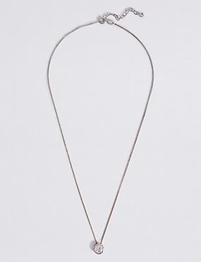 Sterling Silver Floating Stone Diamanté Necklace, , catlanding