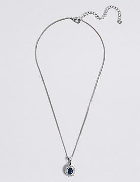 Platinierte, elegante Baguette-Halskette, , catlanding