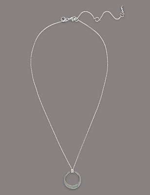Sterling Silver Smooth Flat Hoop Necklace, , catlanding