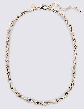 Gold Plated Twist Sparkle Rope Necklace, , catlanding