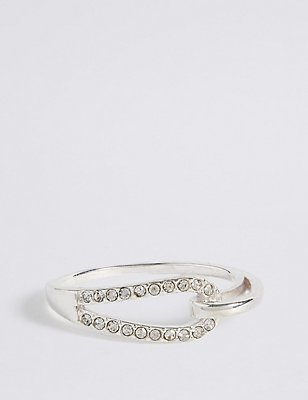 Sterling Silver Interlocking Pave Ring, SILVER, catlanding