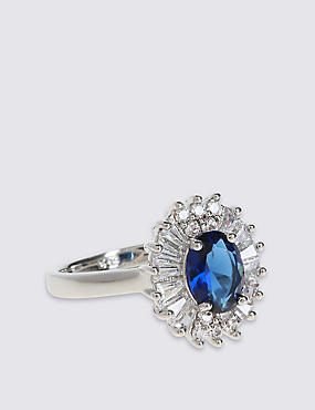 Platinum Plated Baguette Regal Ring, BLUE MIX, catlanding