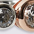 Sterling Silver Ring with 18ct Rose Gold Plated Detail Set with Cubic Zirconia Stones, ROSE MIX, swatch