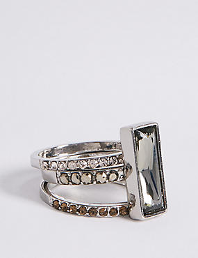 Statement Baguette Stacker Diamanté Ring MADE WITH SWAROVSKI® ELEMENTS, NATURAL MIX, catlanding