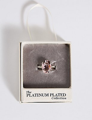 Platinum Plated Diamanté Oval Pavé Ring, PINK MIX, catlanding