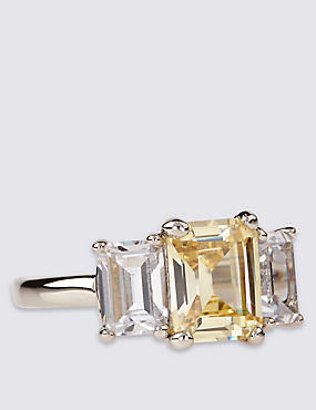 Platinum Plated Triple Baguette Stone Ring, YELLOW, catlanding