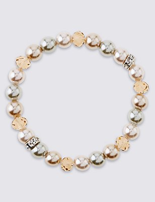 Pearl Effect Sparkle Stretch Bracelet, , catlanding