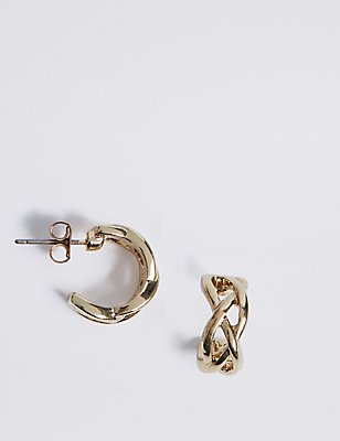Gold Plated Criss-Cross Hoop Earrings, , catlanding