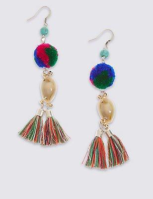 Pom Pom Drop Earrings, , catlanding