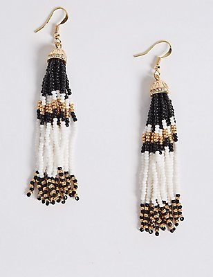 Tassel Bead Drop Earrings, , catlanding
