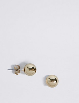 Gold Plated Ball Stud Earrings, , catlanding
