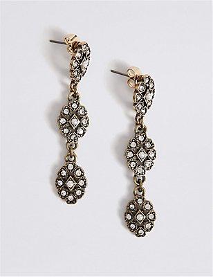Vintage Pearl Drop Earrings, , catlanding