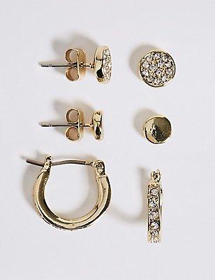 Gold Plated Diamanté Hoop Stud Trio Earrings Set, , catlanding
