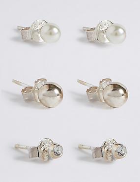 3 Pack Sterling Silver Stud Earrings Set, , catlanding