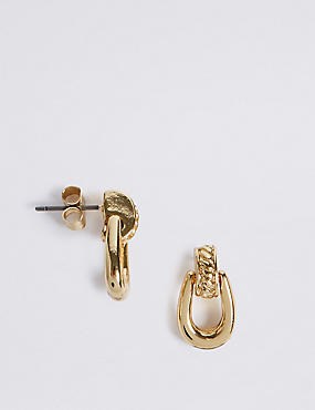 Gold Plated Loop Drop Earrings  , , catlanding