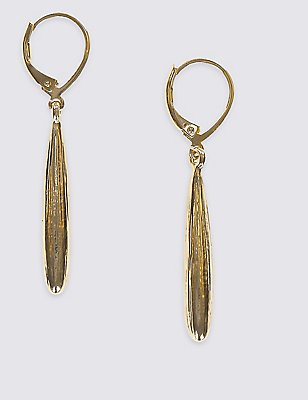 Gold Plated Slim Pear Drop Earrings, , catlanding