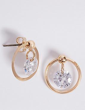 Gold Plated Bling Float Earrings, , catlanding