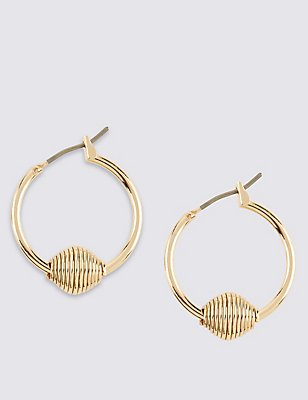 Gold Plated Knot Hoop Earrings, , catlanding