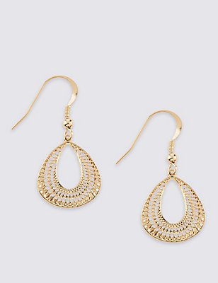 Gold Plated Filigree Fan Earrings, , catlanding