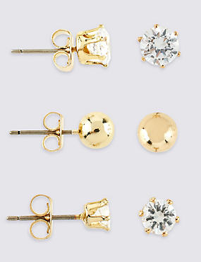 Gold Plated Earrings Set, , catlanding