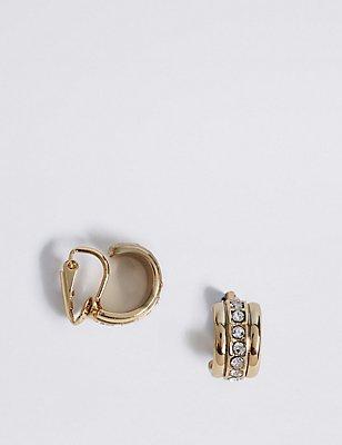 Gold Plated Sparkle Clip Hoop Earrings, , catlanding