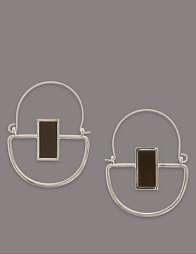 Modern Stone Hoop Earrings, , catlanding