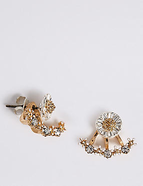 Diamanté Floral Stud Earrings, , catlanding