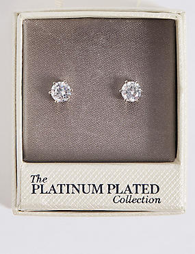 Platinum Plated Diamanté Stud Earrings, , catlanding