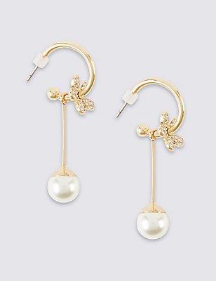 Pearl Effect Floral Drop Earrings, , catlanding