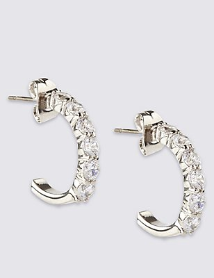 Platinum Plated Diamanté Hoop Earrings, , catlanding