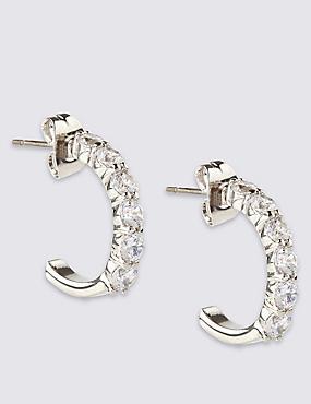 Platinum Plated Diamanté Hoop Earrings, , catlanding