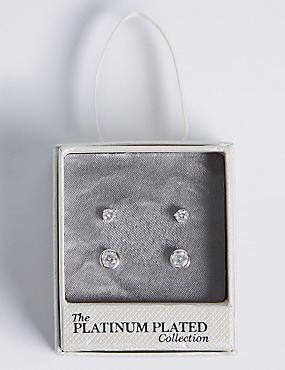 Platinum Plated Diamanté Stud Earrings Set, SILVER, catlanding
