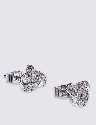 Platinum Plated Twist Knot Earrings, , catlanding