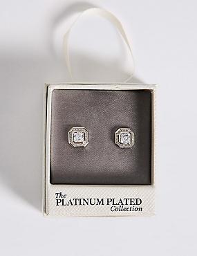 Platinum Plated Diamanté Stud Earrings, , catlanding