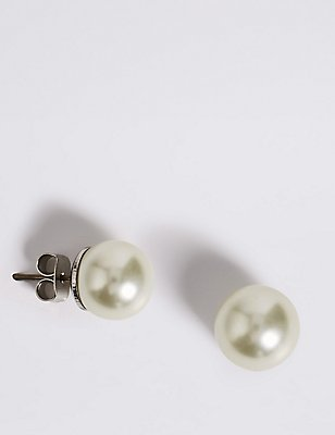 Pearl Effect Stud Earrings, CREAM MIX, catlanding