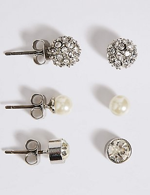 Pearl Effect Snowball Diamanté Stud Trio Earrings Set, , catlanding