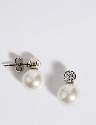 Pearl Effect Snowman Diamanté Stud Earrings, , catlanding