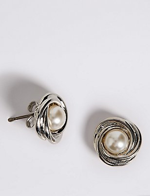 Pearl Effect Twisted Knot Stud Earrings, , catlanding