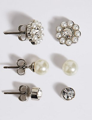Pearl Effect & Dainty Diamanté Stud Trio Earrings Set, , catlanding